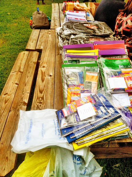 School supplies donated by the Silver Leaf Lodge