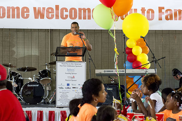 WXIA 11 Alive anchor DeMarco Morgan led the Fam Fest lunch program, which included a catered meal, fellowship and bands.