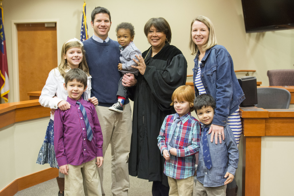 The Hope family celebrated Bryson's adoption in December 2014.